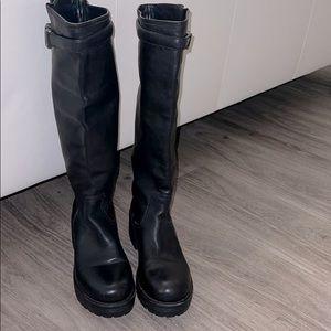 Prada knee high leather boots